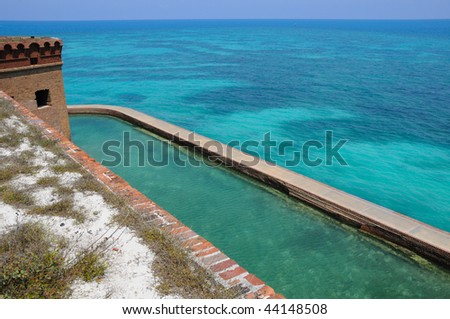View to Coral Reef from the Top of Fort Jefferson on Dry Tortugas National Park - stock photo