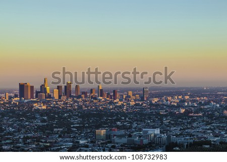 view to downtown Los Angeles in the late afternoon from Griffith Park - stock photo