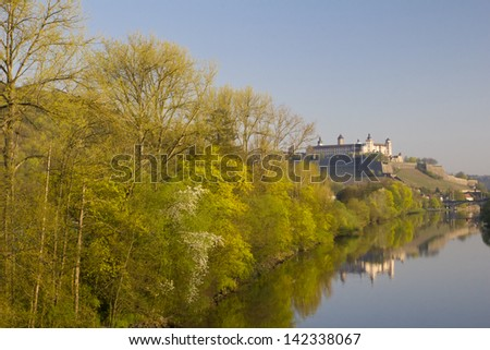View to Fortress Marienberg via Main River, WÃ?rzburg (Germany) - stock photo