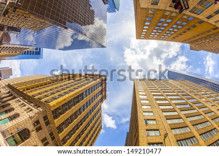 view to historic and modern skyscraper in downtown Houston in the historic district - stock photo
