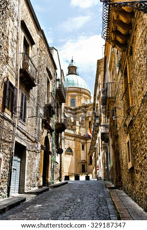 View to Historic Center City of Piazza Armerina in Sicily - stock photo