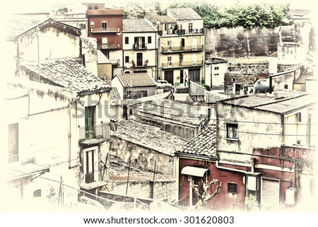 View to Historic Center City of Piazza Armerina in Sicily, Vintage Style Toned Picture - stock photo