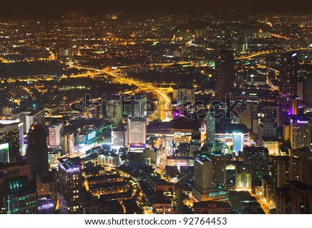 View to Kuala Lumpur (Malaysia) at night - architecture background - stock photo