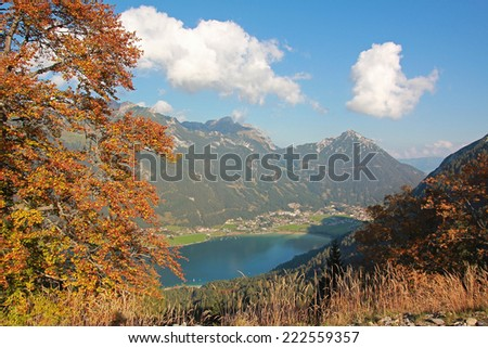 view to lake achensee and maurach village, austria - stock photo