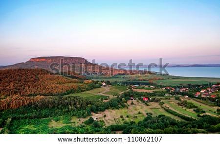 View to Lake Balaton from Szigliget,Hungary - stock photo