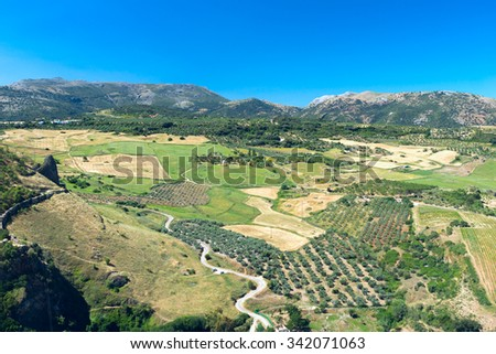 View to landscape of Andalusia - stock photo