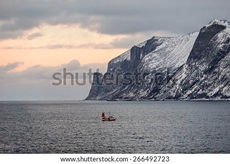 View to Mefjord on Senja island (Oksan on Background), Troms county - Norway - stock photo