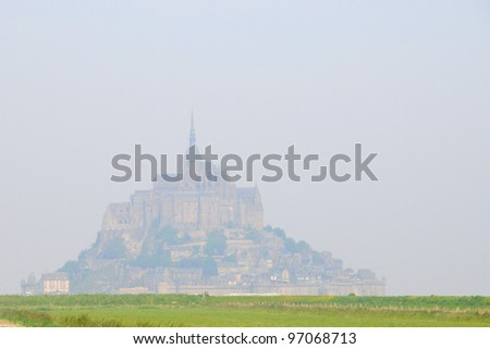 View to Mont Saint Michel Abbey, France - stock photo