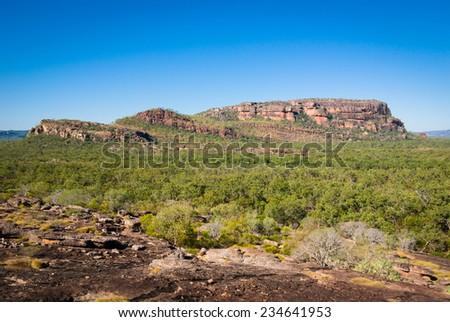 View to Nourlangie from Nawurlandja lookout, Kakadu National Park, Australia - stock photo