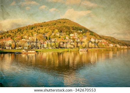 view to old town of Heidelberg, Germany  - stock photo