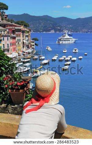 View to Portofino - stock photo