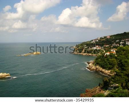 view to seaside hrvatska - stock photo