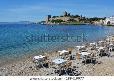 View to St. Peters castle in Bodrum, Turkey. Built in XV century, now the castle housed the Museum of Underground Archeology - stock photo