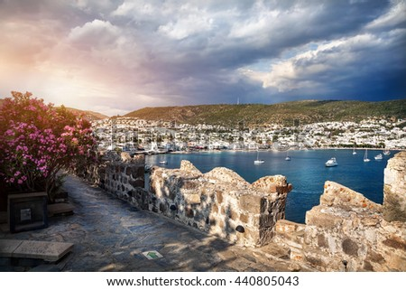 View to the Bay in Aegean Sea from the Wall of Bodrum Castle, Turkey  - stock photo