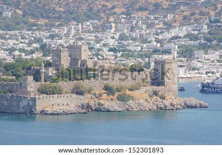 View to the Bodrum Castle of St. Peter from the Windmill's hill - stock photo