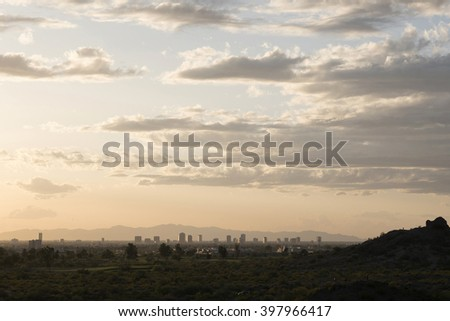 view to the city of Phoenix, Arizona, USA from the Hole in the Rock, Papago Park - stock photo