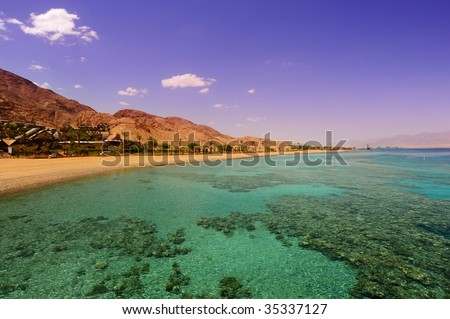 View To The Coastline Of Red Sea From Coral Reef - stock photo