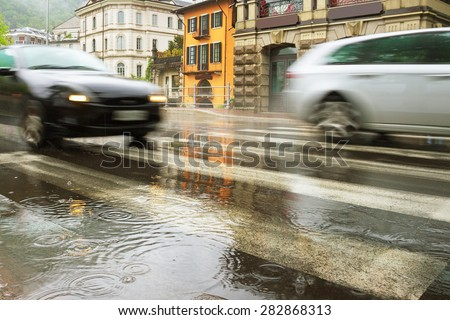View to the Como in rain, Italy. - stock photo