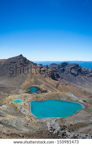 View to the Emerald Lakes. Tongariro Crossing on the North Island of New Zealand. - stock photo