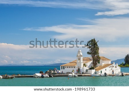 View to the famous touristic landmark Monastery of Panagia Vlahernon under clouds, Kerkyra, Corfu, Greece - stock photo