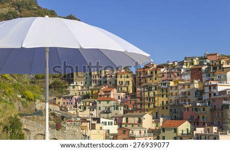 View to the Manarola, Italy. - stock photo