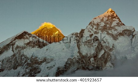 View to the Mount Everest and Nuptse on a sunset  from Kala Patthar - Nepal, Himalayas - stock photo