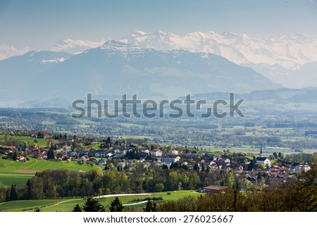 View to the Mountain Rigi, near Zurich, Switzerland - stock photo