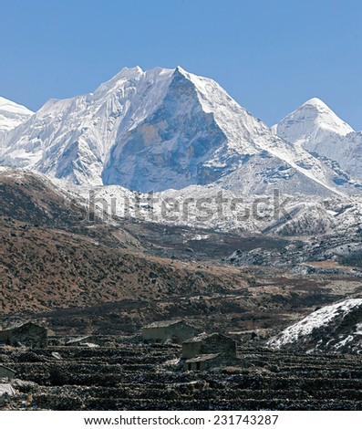 View to the north along the valley of the Chhukhung on the Island peak in district Mount Everest - Nepal, Himalayas - stock photo