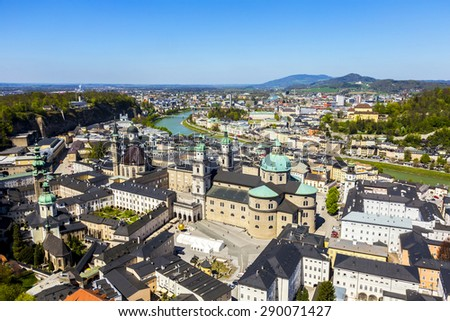 view to the old city of Salzburg from the castle Hohensalzburg hill, Austria - stock photo