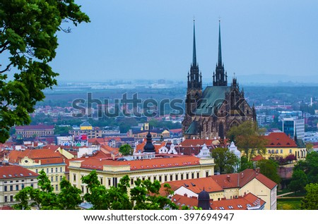 View to the red roofs of  Brno city with cathedral, Czech Republic - stock photo