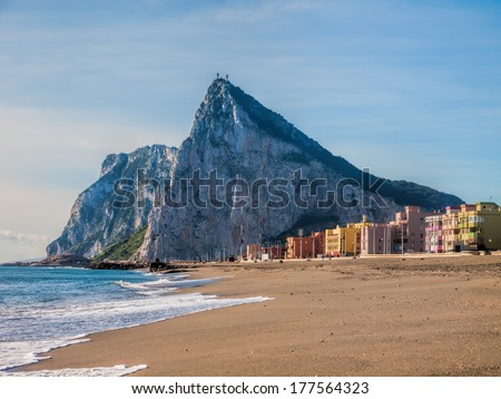 View to the rock of Gibraltar - stock photo