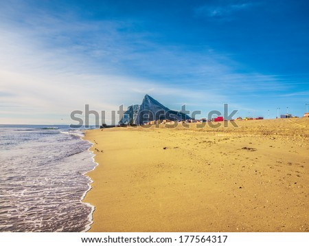 View to the rock of Gibraltar from the beach of La Linea - stock photo