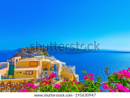 View to the sea from a typical traditional house of Oia the most beautiful village of Santorini island in Greece - stock photo