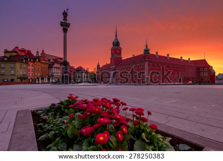 View to the square and Castle in Warsaw old town at sunrise. - stock photo