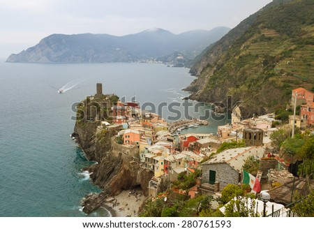 View to the Vernazza from tourist path. - stock photo