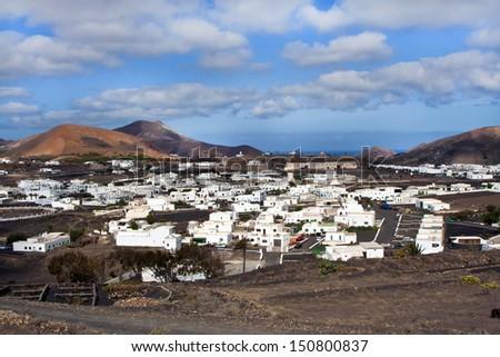 view to Uga, rural village in Lanzarote - stock photo