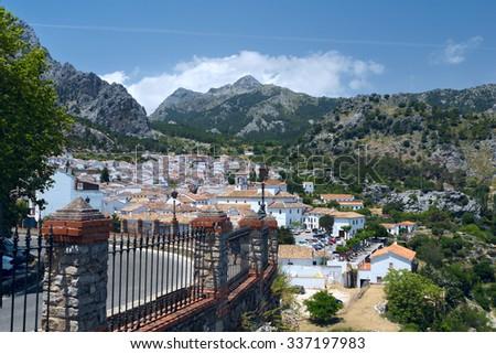View to white village Grazalema in Andalucia - stock photo