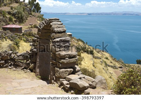 View toward Lake Titicaca from Taquile Island, Bolivia - stock photo
