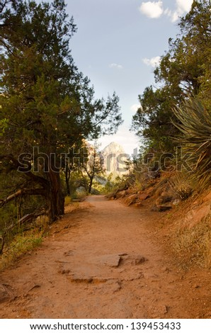 View toward's Angel's Landing on one of Zion National Park's trails. - stock photo