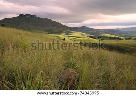 view towards Gardiner's castle, Umzimkulu valley,  DRAKENSBERG  GARDENS ROAD - stock photo