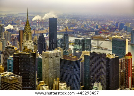View Towards Queensboro Bridge, Manhattan and East River, New York - stock photo