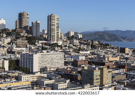 View towards Russian Hill from the Financial District in downtown San Francisco. - stock photo