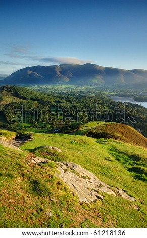 View towards Skiddaw from Cat Bells in the English Lake District - stock photo