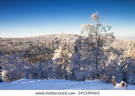 View towards the Feldberg in the winter as seen from Altkoenig, Taunus, Germany - stock photo