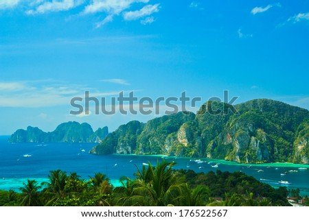 View tropical island with resorts - Phi-Phi island, Krabi province asia thailand  - stock photo