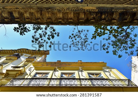 View up from the street on walls and a roof of the building. Havana, Cuba - stock photo