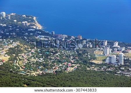 View urban-type settlement Koreiz in Yalta Municipality with the cable car AI-Petri, Crimea, Russia - stock photo