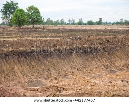 View wells which dry soil dug for water in rice farming in Thailand with some trees. - stock photo