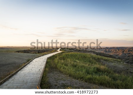 viewing deck overlooking an area with American Canyon - stock photo