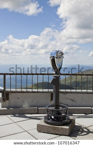 Viewing platform at the peak of Mt. Washington, roof of New Hampshire - stock photo